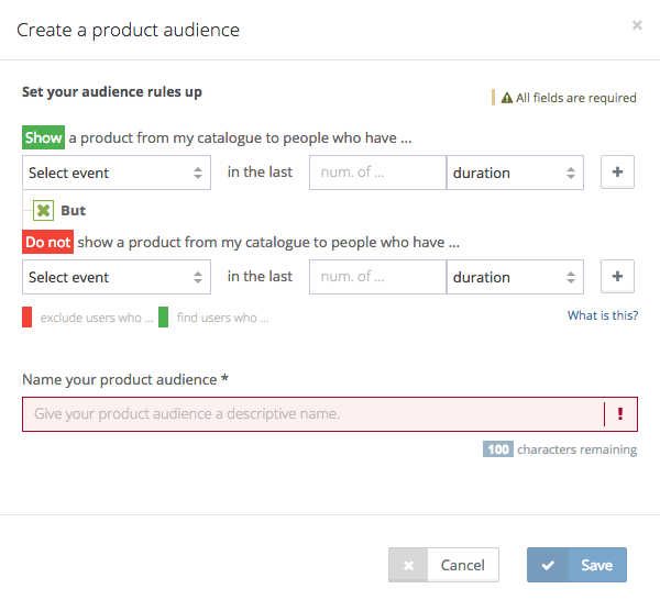 advanced product audiences